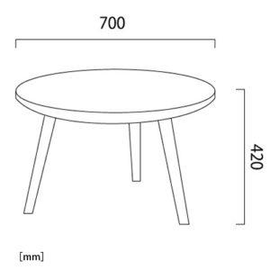 コルダ ラウンド サイドテーブル(アカシア)サイズ