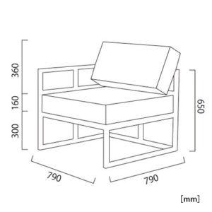 オリンダ コーナー(PVCレザー)サイズ