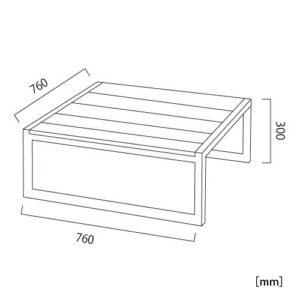 オリンダ テーブル(PVCレザー)サイズ
